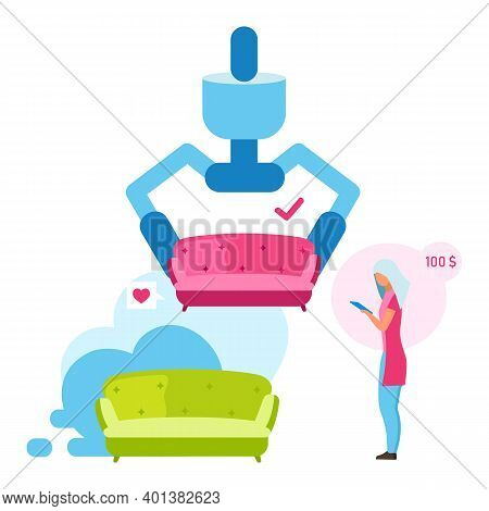 Woman Buying Couch Flat Vector Illustration. Girl Choosing Sofa Color For Interior Design Cartoon Ch