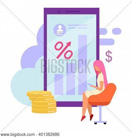 Mobile Banking Account Balance Flat Vector Illustration. Loan High Interest Rates Cartoon Concept. I