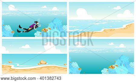 Scubadiving Flat Vector Illustrations Set. Underwater Swimming Sportswoman. Deep Ocean Diving. Sea W