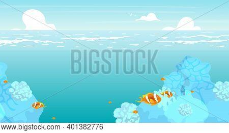 Underwater Flat Flat Vector Illustration. Summer Ocean, Sea Scenery Backdrop Design. Vacation Resort