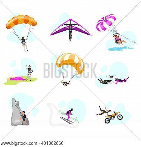 Extreme Sport Flat Vector Illustrations Set. Couple Paragliding, Skydiving. Parachuting, Hang Glidin