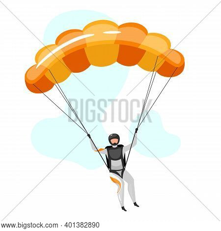 Parachuting Flat Vector Illustration. Skydiving, Paragliding Experience. Extreme Sports. Active Life