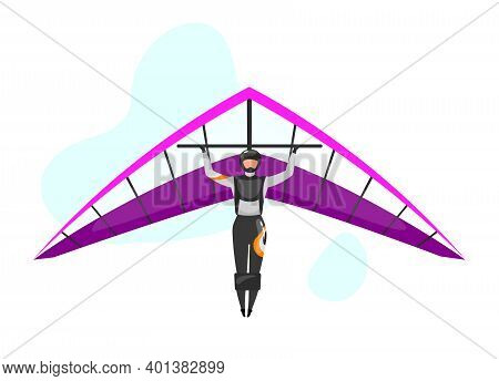 Hang Gliding Flat Vector Illustration. Skydiving, Paragliding Experience. Extreme Sports. Active Lif