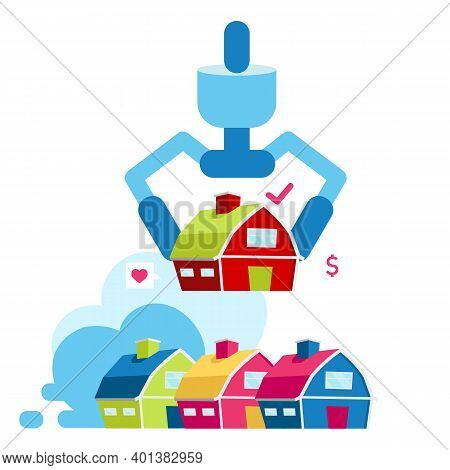Choosing House For Living Flat Vector Illustration.comparing Property To Buy And Rent. Buy Accommoda