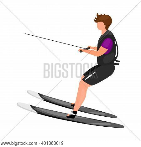Waterskiing Flat Vector Illustration. Extreme Sports Experience. Active Lifestyle. Summer Outdoor Fu