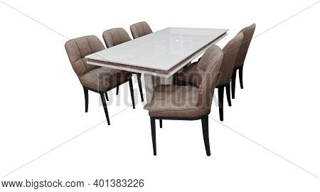 Dining Table And Chairs Isolated On White Background. Luxurious Rectangle Marble Top Dining Table Wi