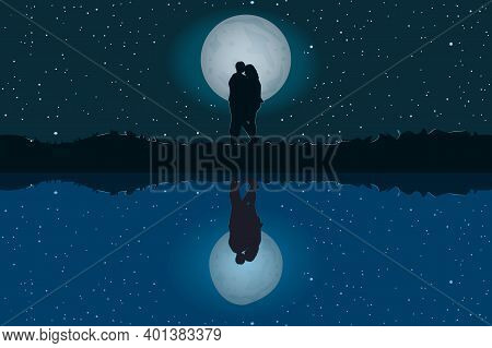 Silhouette Of Loving Couple. Lovers At Night On Beautiful Landscape With Reflection. Full Moon In St