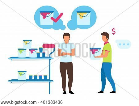 Male Customer Choosing Paint Flat Vector Illustration. Shop Assistant Helping Buyer Making Purchases