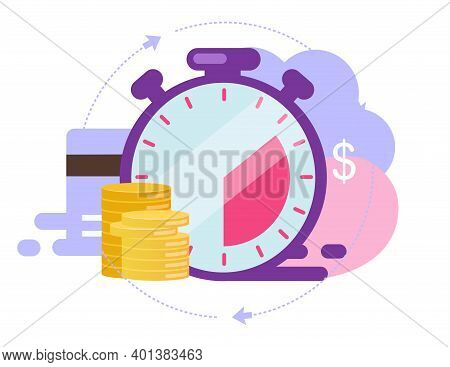Instant Payment Flat Vector Illustration. Quick Cash And Credit Loans Services Cartoon Concept. Invo
