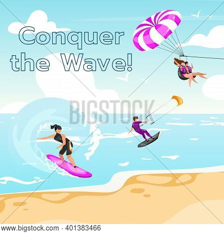 Conquer The Wave Social Media Post Mockup. Extreme Water Sport. Inspirational Web Banner Design Temp