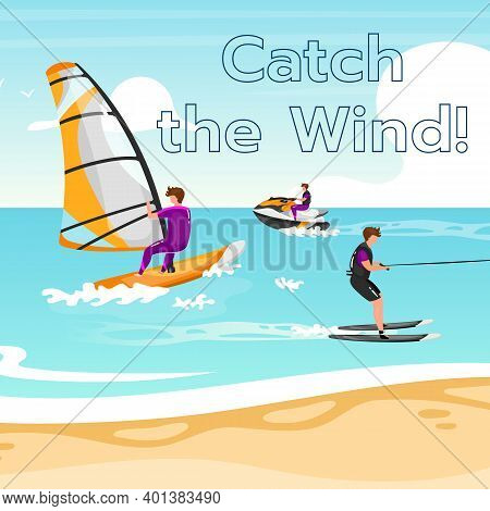 Catch The Wind Social Media Post Mockup. Extreme Water Sport. Inspirational Web Banner Design Templa