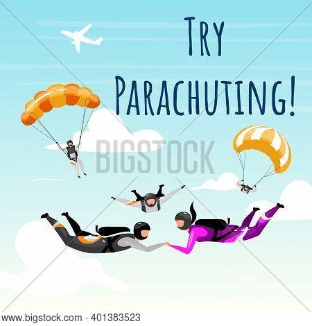 Try Parachuting Social Media Post Mockup. Parachuting, Skydiving. Advertising Web Banner Design Temp