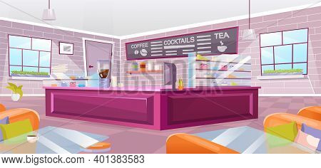 Cafe Interior Flat Vector Illustration. Empty Cafeteria With Pink Counter, Glass Tables And Cozy Arm