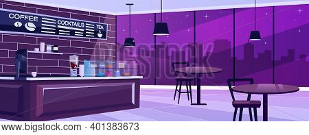Coffee Shop At Night Flat Vector Illustration. Spacious Urban Bar Hall With Vintage Furniture. Panor