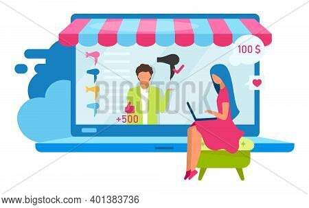 Online Shopping Flat Vector Illustration. Choosing Hair Dryer With Good Reviews On Electronics Marke