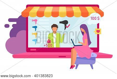 Online Electronics Store Flat Vector Illustration. Choosing Hair Dryer With Good Reviews On Marketpl