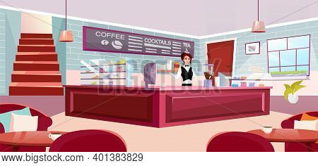 Barista At Counter Flat Vector Illustration. Stylish Coffeehouse With Comfortable Furniture. Waitres