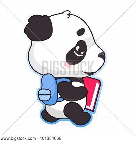 Cute Panda Back To School Kawaii Cartoon Vector Character. Adorable, Happy And Funny Animal With Bac