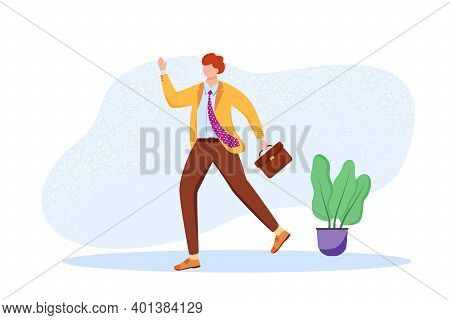 Office Worker Flat Vector Illustration. Employee With Briefcase Hurrying To Workplace. Staff Member