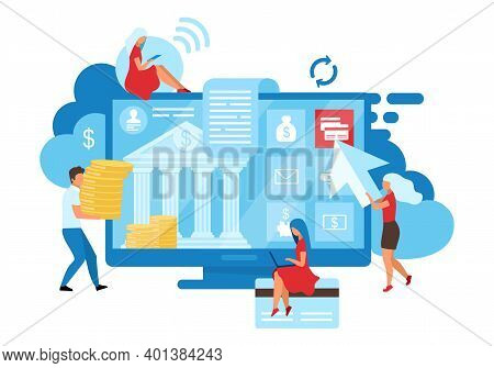 Online Banking Users Flat Vector Illustration. Customized Solutions Metaphor. Credit Cards Transacti
