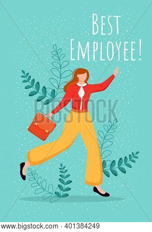 Best Employee Poster Vector Template. Top Performer Greeting Card, Certificate Design With Flat Fema