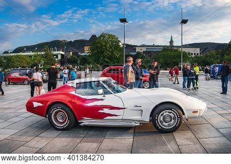 Bergen, Norway - August 1, 2018: Classic Vintage Auto Show On Festplassen Square In Bergen, Norway.