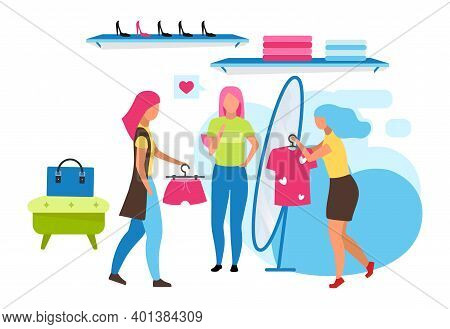 Clothing Boutique Assistant Flat Vector Illustration. Choosing Outfit At Mall, Retail Store. Woman T