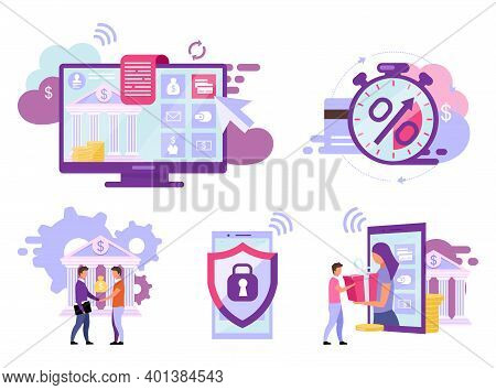 Online Banking Flat Vector Illustrations Set. Credit Card Transactions Instant Payments Cartoon Conc