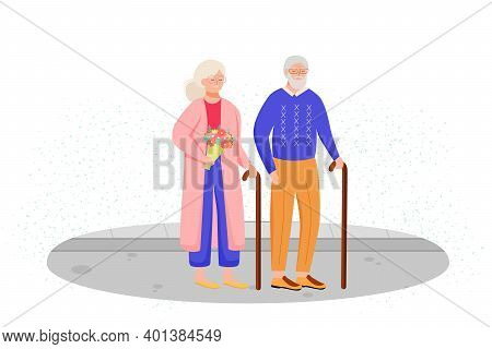 Retired People Flat Vector Illustration. Senior Age Family With Walking Stick. Old Couple Spends Tim