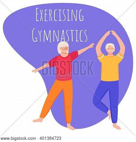 Exercising Gymnastic Social Media Post Mockup. Retired People. Healthy Lifestyle. Advertising Web Ba