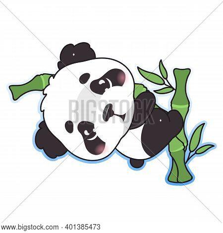 Cute Panda Kawaii Cartoon Vector Character. Adorable, Happy And Funny Animal Sitting On Bamboo Branc