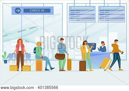Check In Airport Zone Flat Vector Illustration. Travelers With Luggage At Boarding Registration, Dep