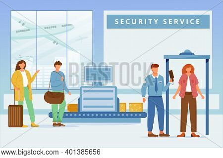 Airport Security Service Flat Vector Illustration. Inspection Of Personal Luggage, Passing Metal Det