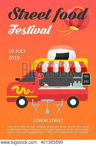 Street Food Festival Brochure Template. Asian Cuisine Restaurant Truck Flyer, Booklet, Leaflet Conce