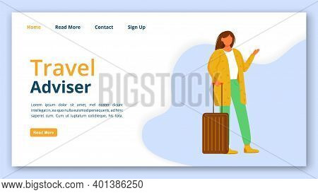Travel Adviser Landing Page Vector Template. Tourist Guide Website Interface Idea With Flat Illustra