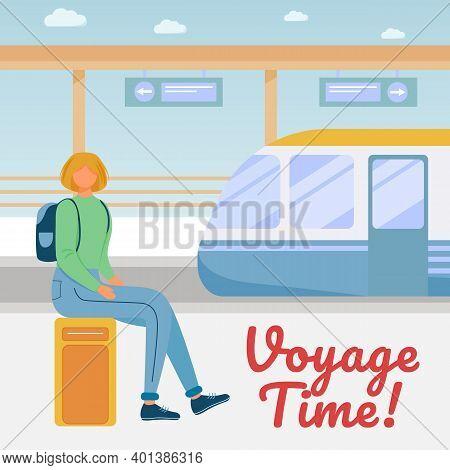 Voyage Time Social Media Post Mockup. Travel Company Advertising Web Banner Design Template. Social