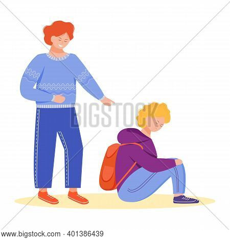 Trouble Relationship Flat Vector Illustration. School Pupils Bullying. Conflict Between Kids. Childr