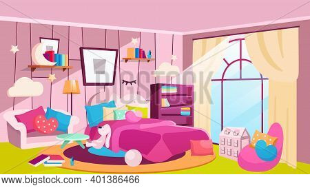Girls Bedroom At Daytime Flat Vector Illustration. Spacious Room With Bed, Bookshelves, Picture On W