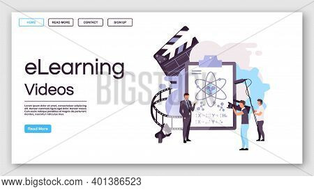 Elearning Videos Landing Page Vector Template. Educational Internet Blogging Website Interface Idea