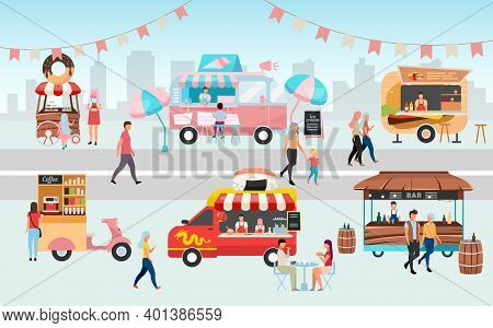 Street Food Festival Flat Vector Illustration. Summer Outdoor Rest In Town. Sellers, Buyers And Truc