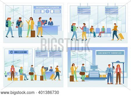 Airport Zones Flat Vector Illustrations Set. Information Counter, Lounge Area, Registration, Securit