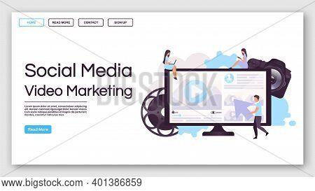 Social Media Video Marketing Landing Page Vector Template. Internet Advertisement Website Interface