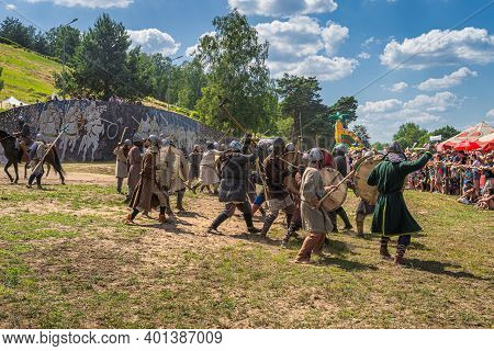 Cedynia, Poland, June 2019 Brutal Medieval War Or Fight Between Two Warrior Clans. Historical Reenac