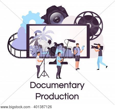 Documentary Production Flat Concept Icon. Filmmaking, Broadcasting And Cinematography Sticker, Clipa