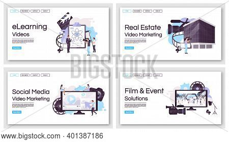 Video Marketing Production Landing Page Vector Templates Set. Film And Event Shooting Website Interf