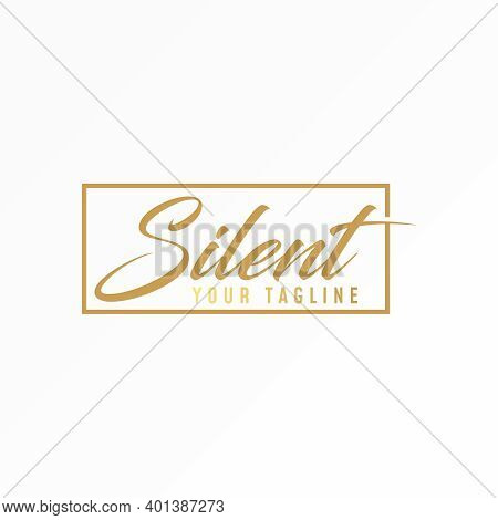 Silent Logo. Silent Writing Design. Typhograpy Concept. Can Be Used As A Symbol Related To Word.