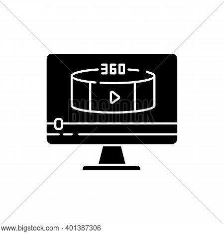 360 Degree View Video Black Glyph Icon. Virtual Reality Footage Streaming. Panoramic Scenery Shootin
