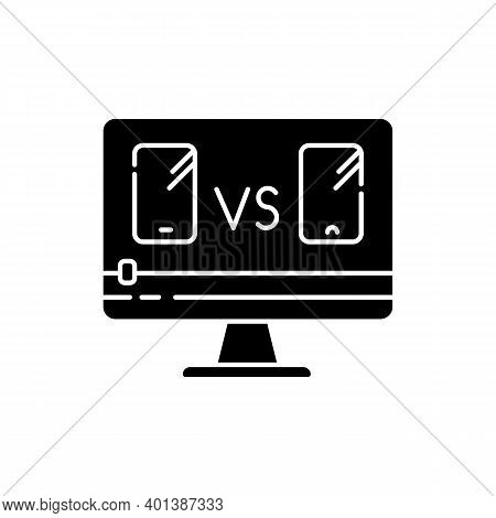 Smartphone Comparison Video Black Glyph Icon. Product Review Blog. Mobile Phone Blogger Commentary.