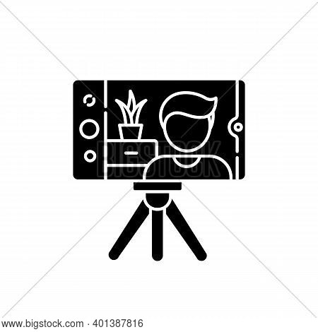 Real Estate Video Black Glyph Icon. Internet Blogger. Vlogger Streaming. House Selling Advertisement