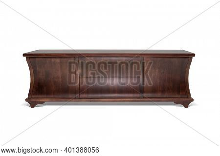 Wooden stand, bureau, commode with boxes. Retro designer, commode on white background, including clipping path